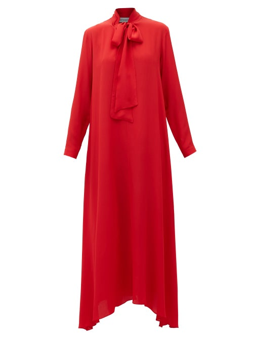 Odyssee | Odyssee - Dr Hoyt Pussy-bow Crepe Dress - Womens - Red | Clouty