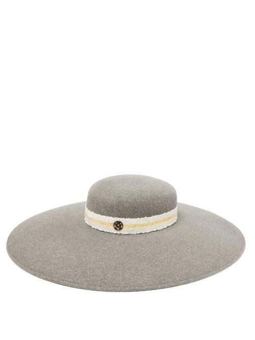 Maison Michel | Maison Michel - Bianca Wide-brim Felt Hat - Womens - Grey | Clouty