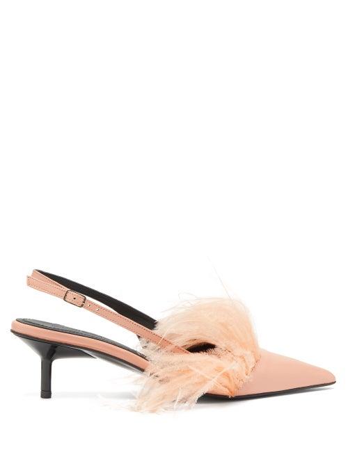 MARQUES'ALMEIDA | Marques'almeida - Feather-trim Leather Slingback Pumps - Womens - Pink | Clouty