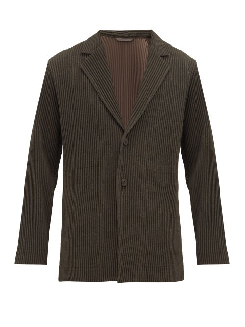 ISSEY MIYAKE | Homme Plisse Issey Miyake - Single-breasted Technical Pleated-jersey Jacket - Mens - Dark Grey | Clouty