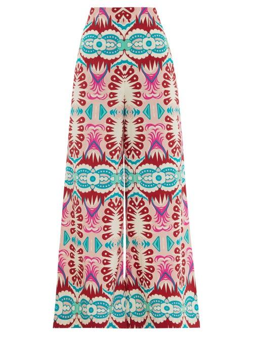 Le Sirenuse, Positano | Le Sirenuse, Positano - Stephan Fish Tail-print Wide-leg Cotton Trousers - Womens - Pink Print | Clouty