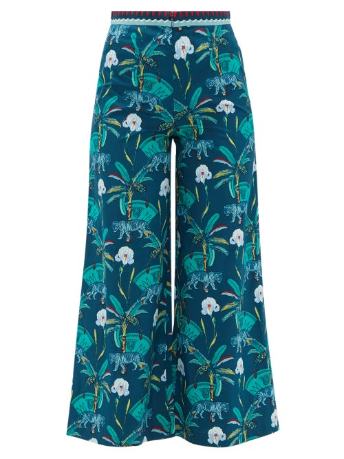 Le Sirenuse, Positano | Le Sirenuse, Positano - Natalie Cropped Printed-cotton Trousers - Womens - Navy | Clouty