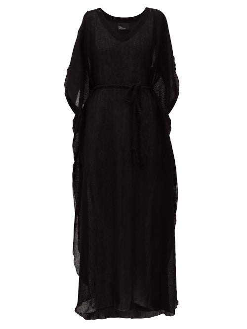 Lisa Marie Fernandez | Lisa Marie Fernandez - Chios Belted V-neck Linen-blend Kaftan - Womens - Black | Clouty