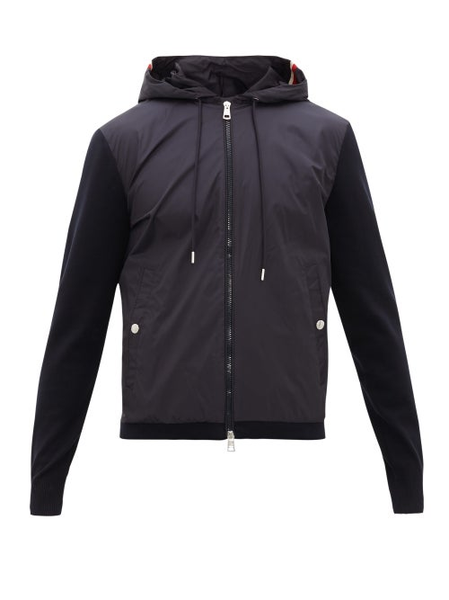 MONCLER | Moncler - Nylon-panel Zip-through Hooded Cotton Sweatshirt - Mens - Navy | Clouty