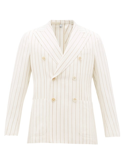 Odyssee | Odyssee - Double-breasted Striped Slubbed-oxford Suit Jacket - Mens - Cream Multi | Clouty
