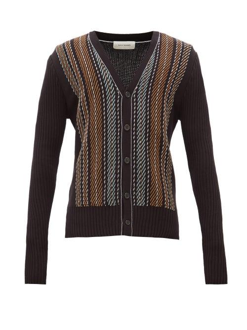 Wales Bonner   Wales Bonner - Oraa Rib-knit Cotton-blend Cardigan - Mens - Black Multi   Clouty