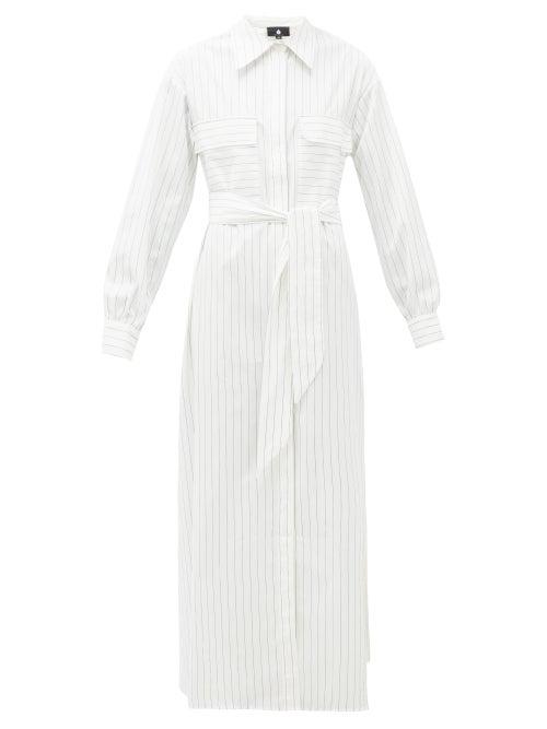 Su Paris   Su Paris - Jad Belted Cotton-poplin Maxi Shirt Dress - Womens - White Stripe   Clouty
