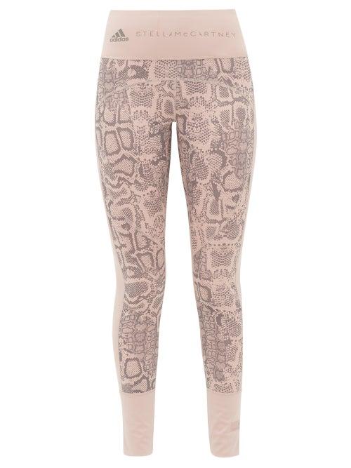adidas by Stella McCartney | Adidas By Stella Mccartney - Snake-print High-rise Training Leggings - Womens - Pink Print | Clouty