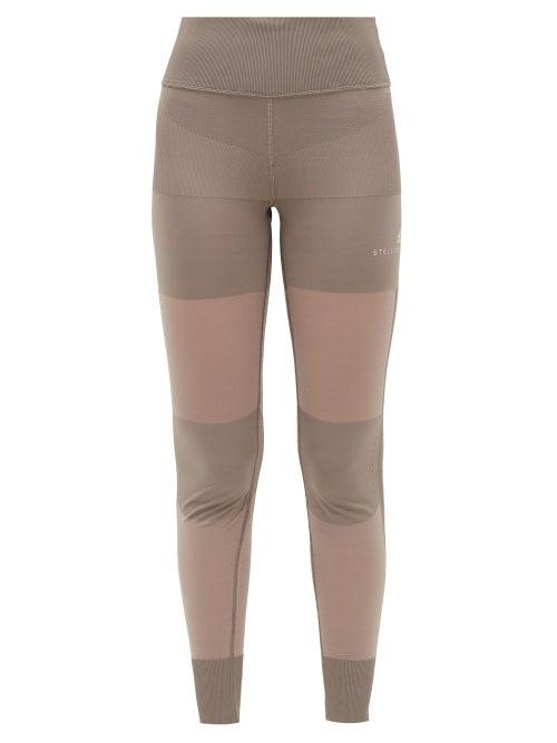 adidas by Stella McCartney   Adidas By Stella Mccartney - High-rise Mesh-panel Leggings - Womens - Brown   Clouty