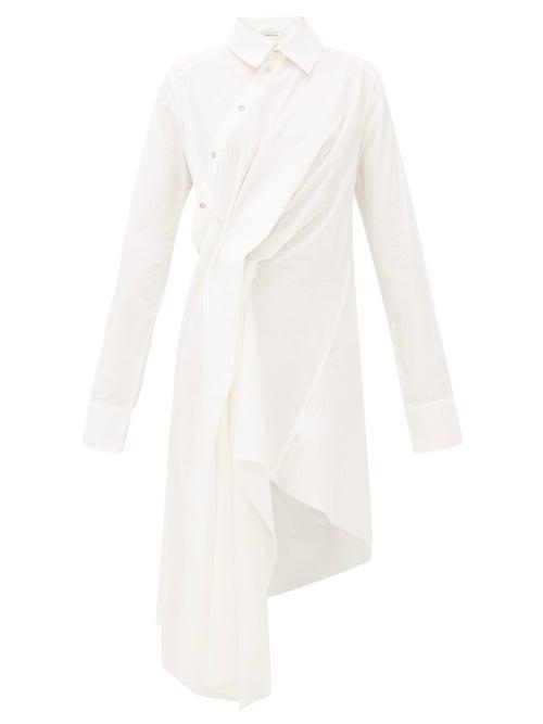 MARQUES'ALMEIDA | Marques'almeida - Pintucked-drape Asymmetric Cotton Shirtdress - Womens - White | Clouty