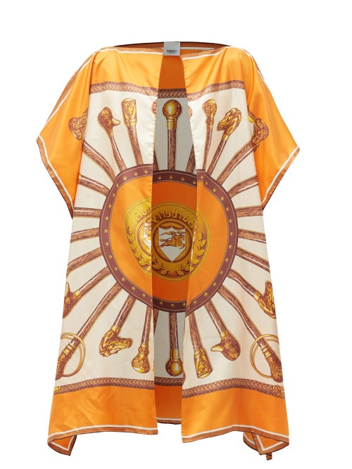 BURBERRY | Burberry - Claudia Scarf-print Silk-twill Cape - Womens - Orange Multi | Clouty