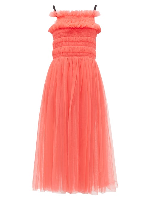 Molly Goddard | Molly Goddard - Shelly Lace-up Smocked Tulle Dress - Womens - Pink | Clouty