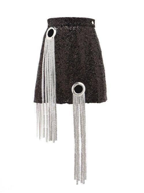 Germanier | Germanier - Chainmail-tassel Sequinned Mini Skirt - Womens - Black | Clouty