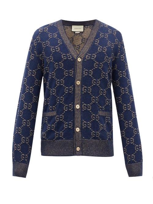 GUCCI | Gucci - V-neck Gg Logo-jacquard Cotton Cardigan - Mens - Blue | Clouty