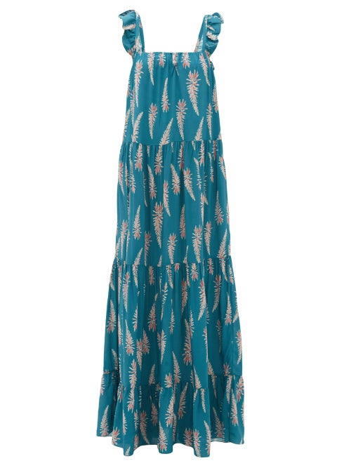 Adriana Degreas | Adriana Degreas - Aloe-print Square-neckline Twill Dress - Womens - Blue Print | Clouty