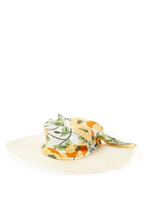 Avenue The Label | Avenue The Label - Luna Floral-satin And Straw Hat - Womens - Multi | Clouty