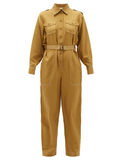Zimmermann | Zimmermann - Wavelength Topstitched Silk Jumpsuit - Womens - Khaki | Clouty
