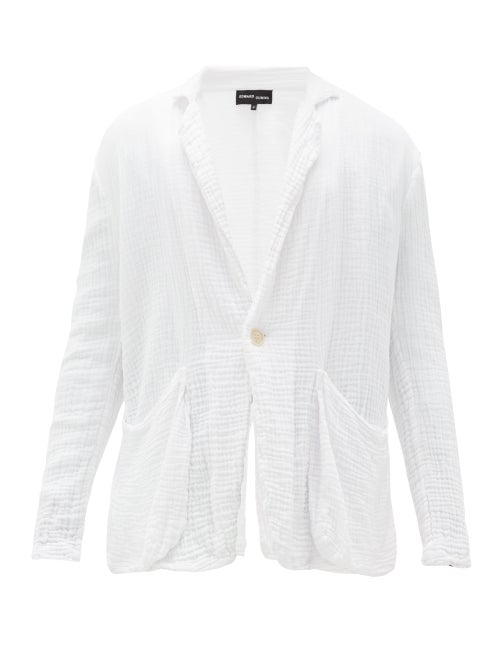 Edward Cuming | Edward Cuming - Crinkled Cotton-muslin Jacket - Mens - White | Clouty