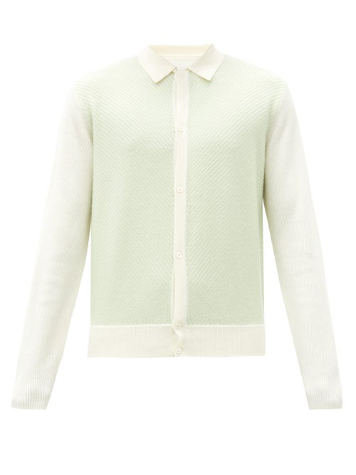 King & Tuckfield   King & Tuckfield - Chevron-ribbed Panel Merino Wool Cardigan - Mens - White Multi   Clouty