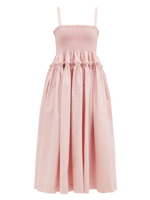 Molly Goddard   Molly Goddard - Marlene Shirred Cotton-scuba Midi Dress - Womens - Light Pink   Clouty