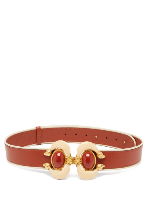 Sonia Petroff | Sonia Petroff - Aries Cabochon-embellished Leather Belt - Womens - Brown Multi | Clouty