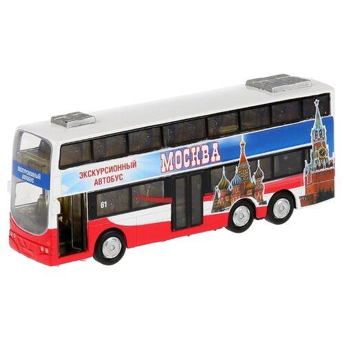 Технопарк | Автобус ТЕХНОПАРК двухэтажный экскурсионный Москва (CT10-054-2) 16 см красный/синий | Clouty