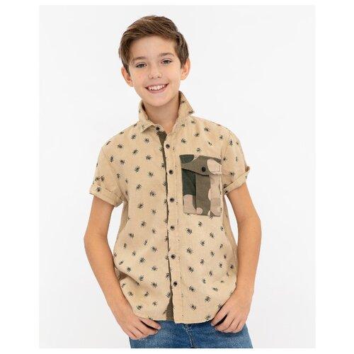 Gulliver | Рубашка Gulliver размер 146, бежевый | Clouty