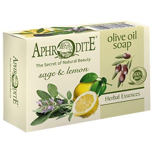 Aphrodite | Мыло кусковое Aphrodite Оливковое с шалфеем и лимоном, 100 г | Clouty