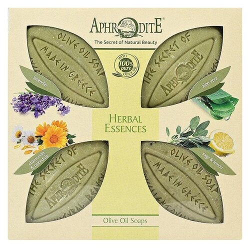 Aphrodite | Набор мыла кускового Aphrodite оливкового Ароматные травы, 85 г, 4 шт. | Clouty