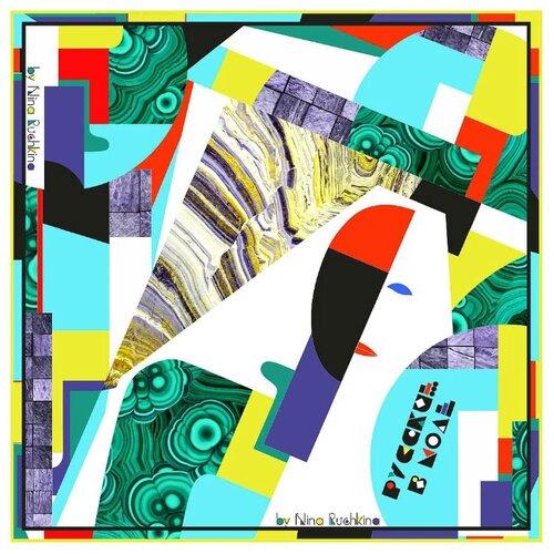 Русские в моде by Nina Ruchkina | Платок Русские в моде by Nina Ruchkina Авангард 100% шёлк зеленый/белый/черный | Clouty