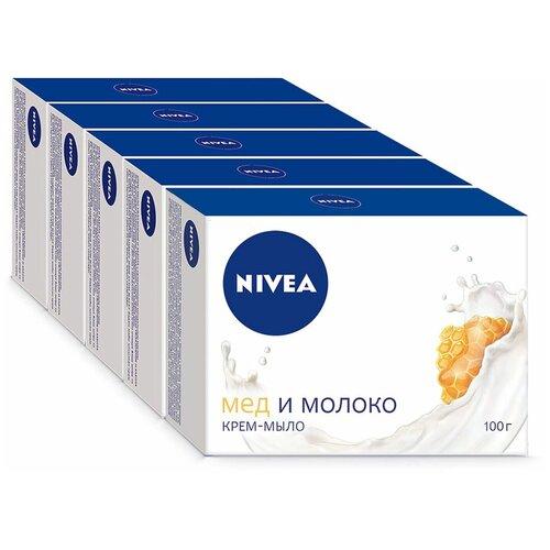 Nivea | Крем-мыло кусковое Nivea Мед и молоко, 100 г, 5 шт. | Clouty