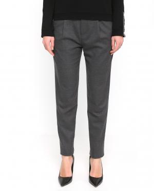 Chlo? Stora | Классические брюки прямого фасона из шерсти с контрастной отделкой | Clouty