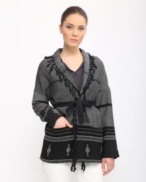 Swildens | Жакет из хлопка декорированный бахромой с поясом в комплекте | Clouty
