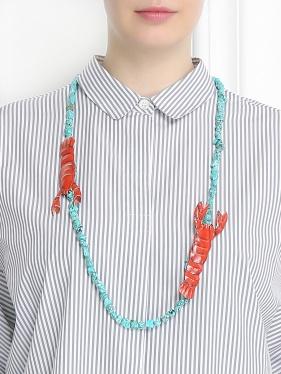 Marina Rinaldi | Ожерелье из камней и металла с декором | Clouty