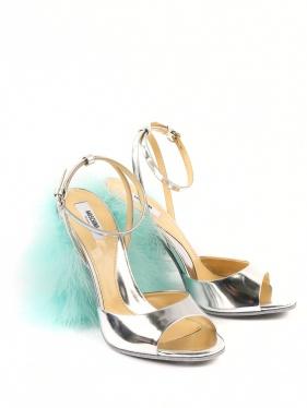 Moschino Couture | Босоножки из лаковой кожи с устойчивым каблуком декорированным перьями | Clouty