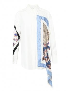 3.1 Phillip Lim | Рубашка из шелка асимметричного кроя с узором | Clouty
