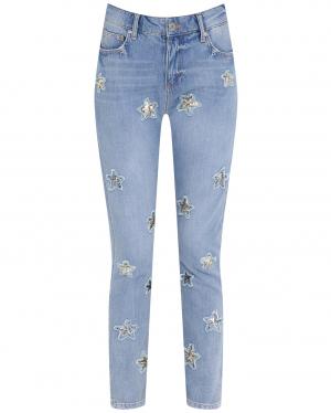 Zoe Karssen | Укороченные джинсы декорированные пайетками | Clouty