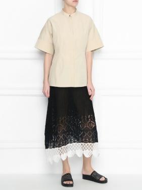 JIL SANDER | Полупрозрачная юбка с ажурным узором из хлопка | Clouty