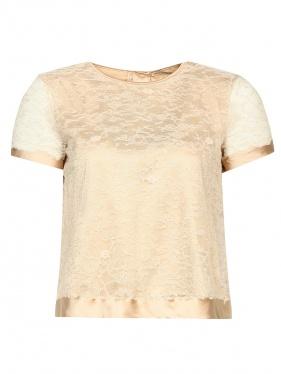 Ermanno Scervino | Блуза из хлопка и вискозы с кружевной вставкой | Clouty