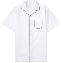 Dario Camp-collar Piped Cotton-seersucker Shirt