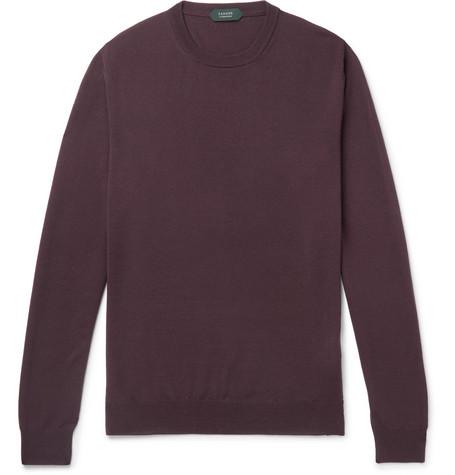 Incotex | Incotex - Virgin Wool-blend Sweater - Burgundy | Clouty