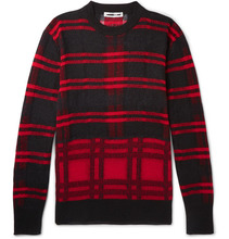 Фото McQ Alexander McQueen - Checked Linen-blend Sweater - Red