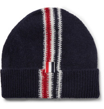Фото Thom Browne - Striped Intarsia Wool And Mohair-blend Beanie - Navy