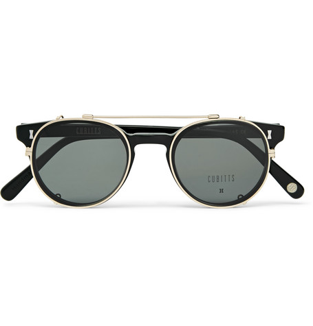 Cubitts   Cubitts - Herbrand Round-frame Acetate Optical Glasses With Clip-on Uv Lenses - Black   Clouty