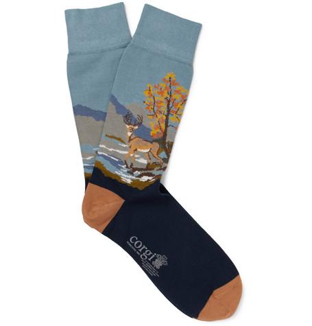 Corgi | Corgi - Intarsia Cotton-blend Socks - Navy | Clouty