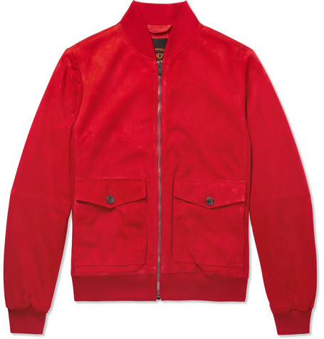 Tod's | Tod's - Suede Blouson Jacket - Red | Clouty