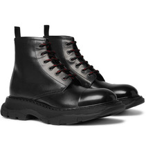 Фото Alexander McQueen - Exaggerated-sole Leather Boots - Black