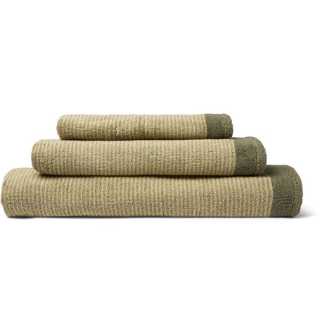 Cleverly Laundry | Cleverly Laundry - Set Of Three Striped Superfine Cotton-terry Towels - Green | Clouty
