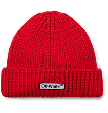 Фото Off-White - Logo-embroidered Ribbed Wool Beanie - Red