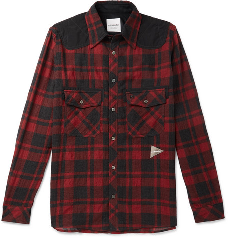 And Wander | And Wander - Shell-panelled Checked Wool-blend Shirt - Red | Clouty